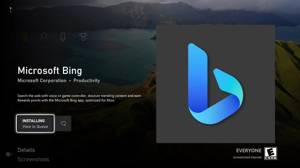 Aplikacja Bing Xbox
