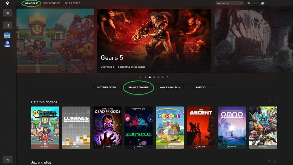 Cloud Gaming w Xbox App na PC
