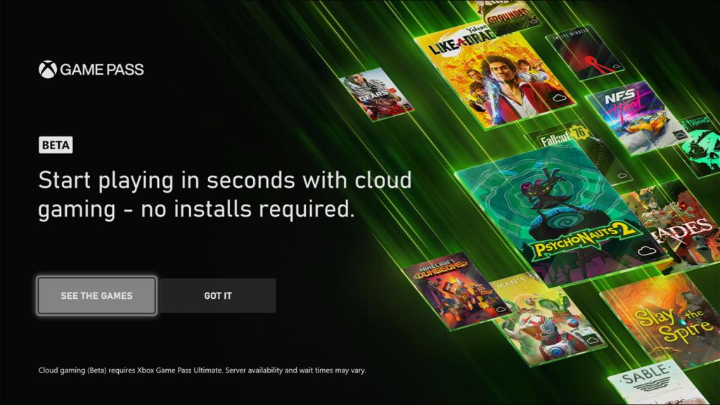 Xbox Cloud Gaming na konsoli